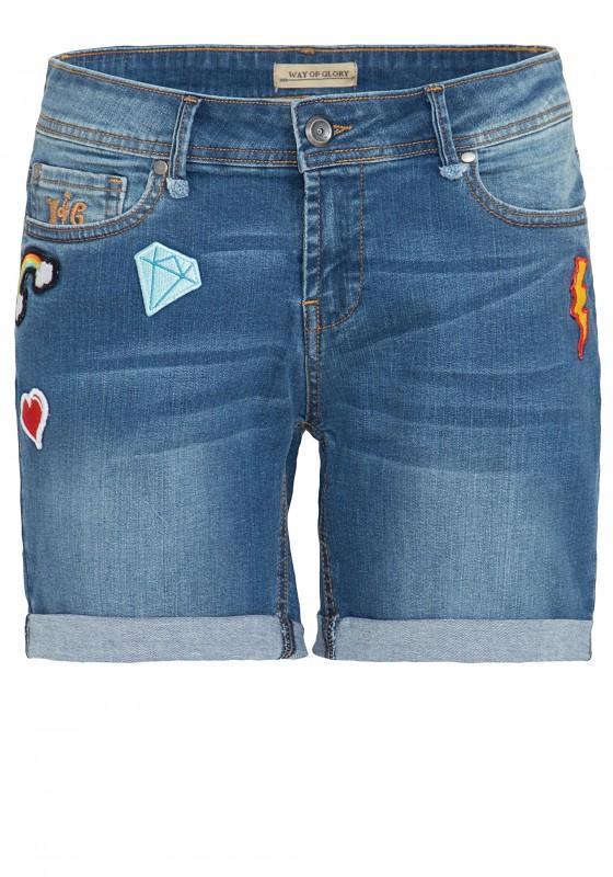 WAY OF GLORY Denim Shorts mit modischen Patches