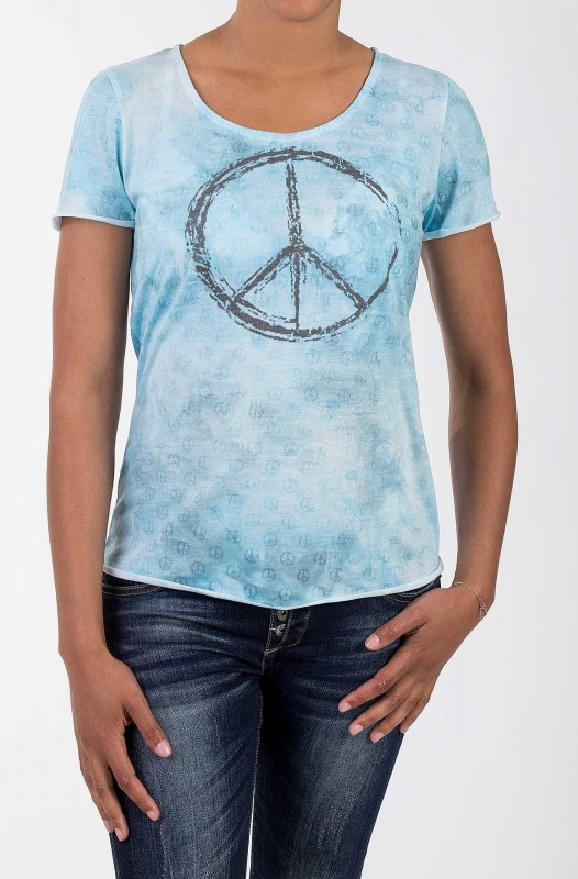 BLUE MONKEY T-Shirt mit Peace Druck