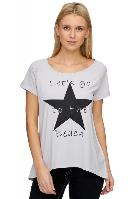 Decay T-Shirt mit Front Print - hellgrau