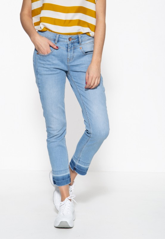 ATT JEANS Damen 5-Pocket Jeans mit offenen Saumkanten und vorderer Passenabtrennung Zoe