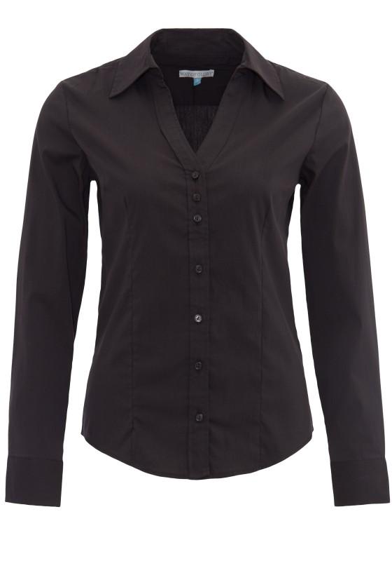 WAY OF GLORY Langarm-Bluse mit Stehkragen und V-Ausschnitt - schwarz