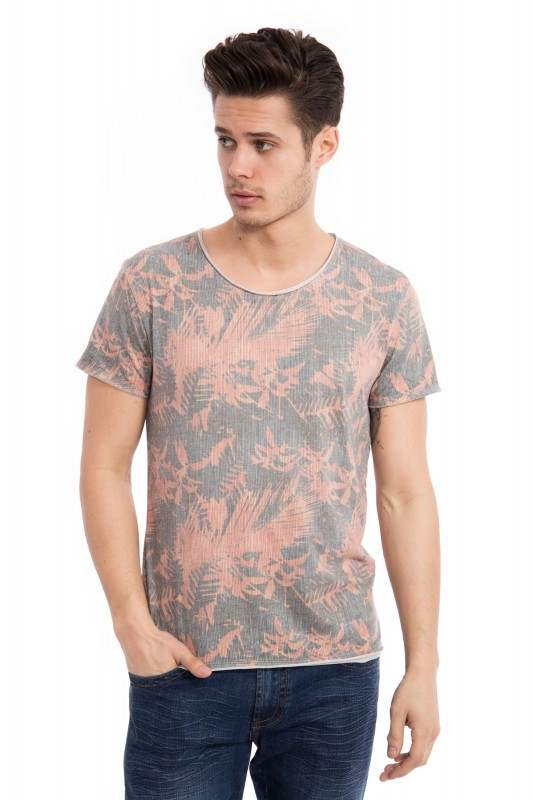 WAY OF GLORY Basic T-Shirt striped Tropical Print