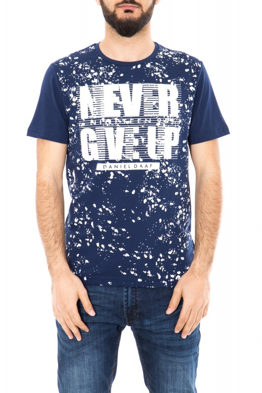 Watercolor T-Shirt mit Frontprint - dunkelblau (navy)
