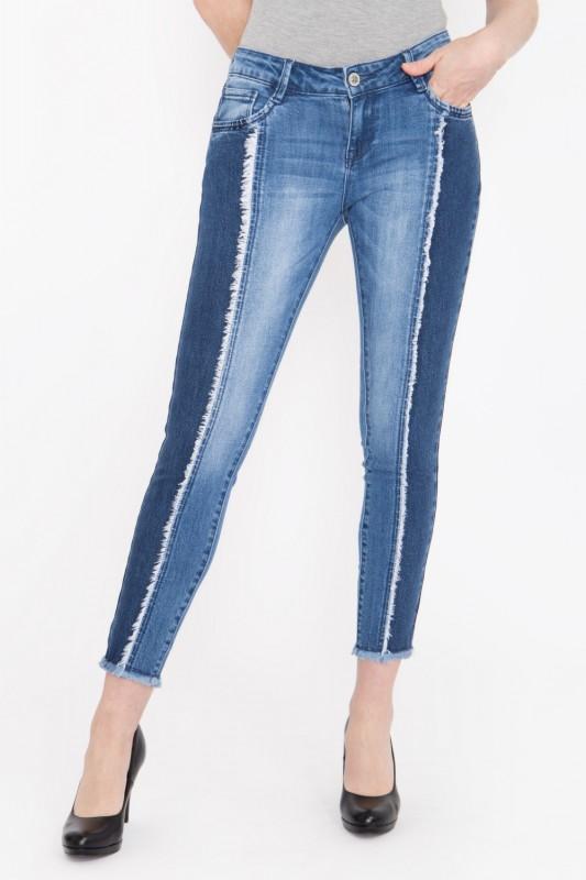 BLUE MONKEY Skinny Fit Jeans verkürzte Form mit modischen Fransendetails » Natalia 3861 « Natalia 38