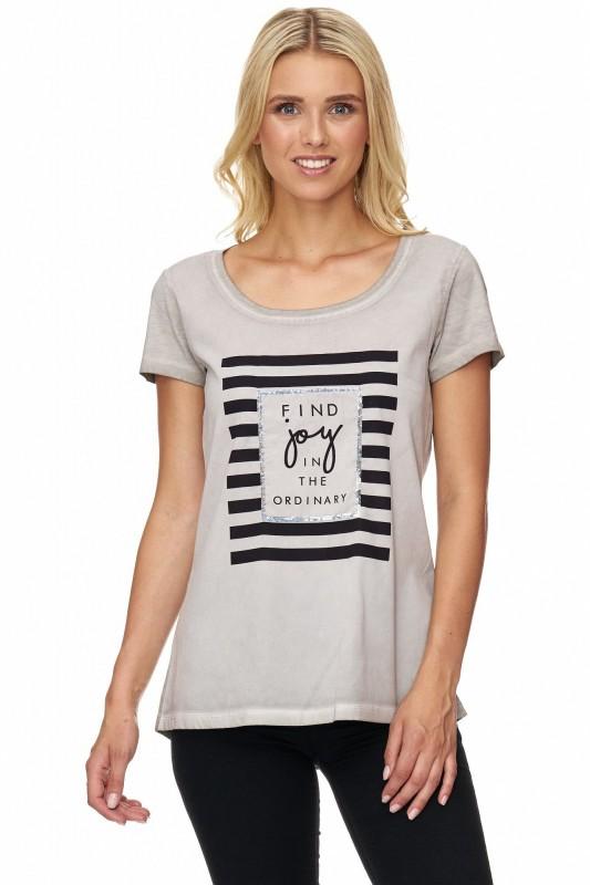 DECAY T-Shirt im Materialmix mit Slogan Druck
