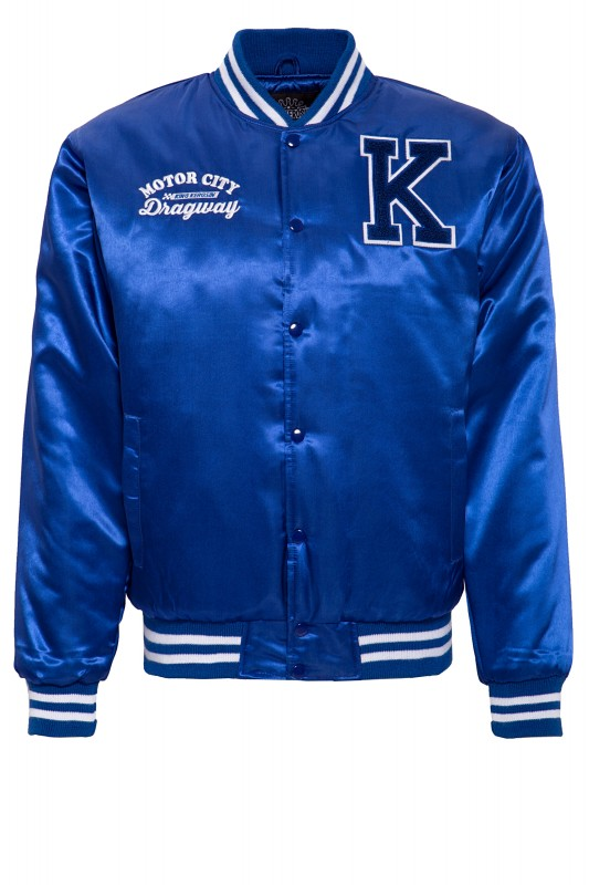 KING KEROSIN Satin College Jacke mit gestreiften Rippabschlüssen Motor City