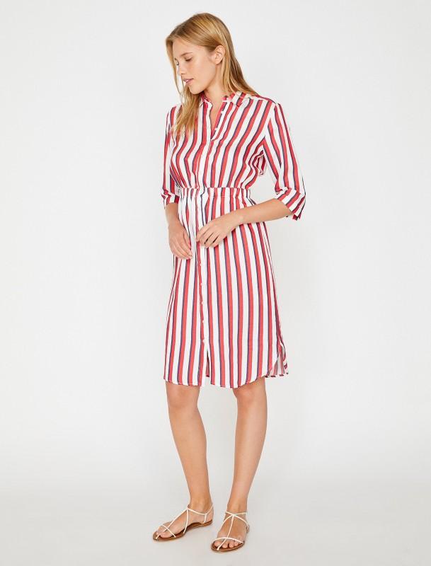 KOTON Hemdblusenkleid mit elastischem Gummizug in der Taille