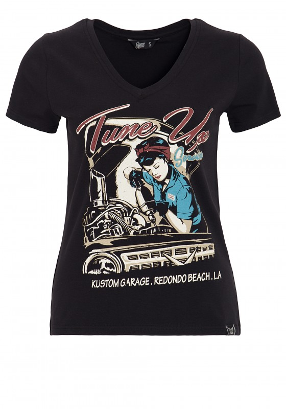 Queen Kerosin Kurzarm Shirt mit trendigem V-Ausschnitt Tune Up