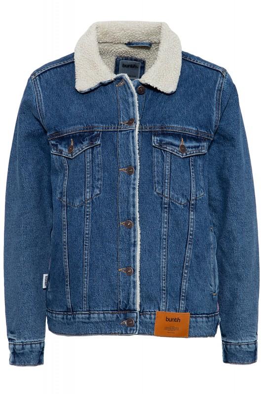 BUNTH Damen Jeansjacke mit Teddyfutter und modischem Detail am Rücken