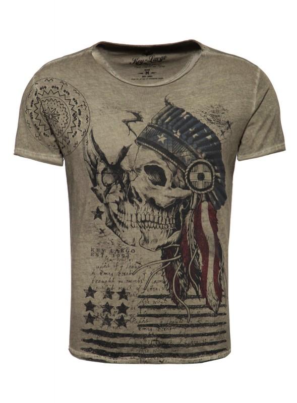 KEY LARGO Herren T-Shirt MT INDIAN SKULL