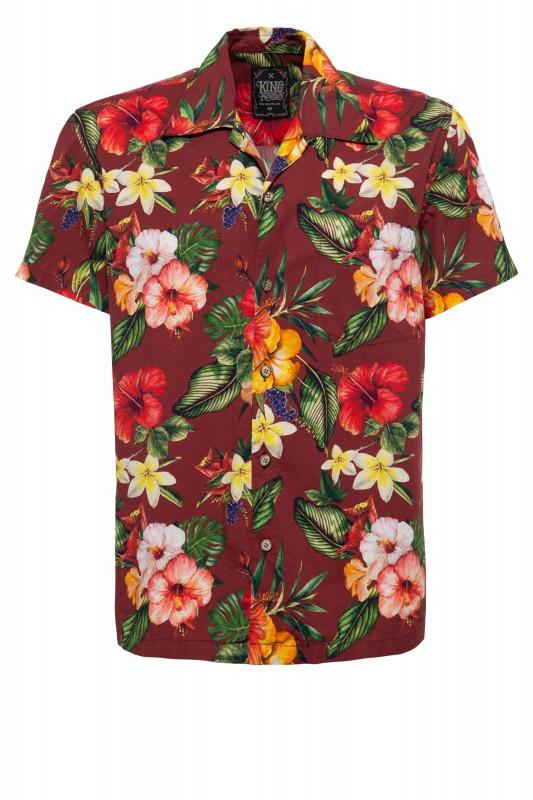 Hawaii Kurzarmhemd mit Reverskragen und floralem Muster »Tropic«