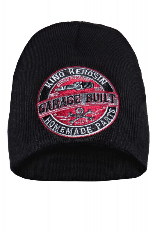 KING KEROSIN Strickmütze mit coolem Frontpatch Garage Built