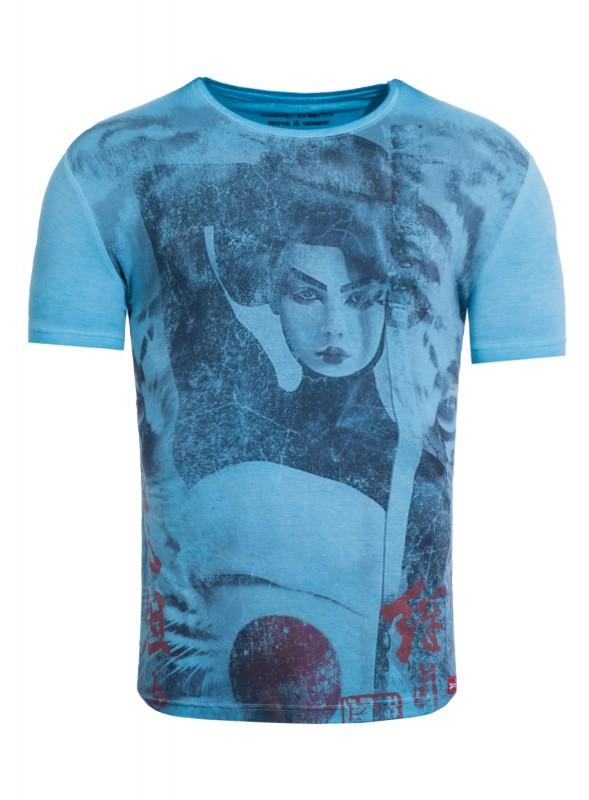 AKITO TANAKA T-Shirt mit großem Geisha Druckmotiv Geisha Tiger