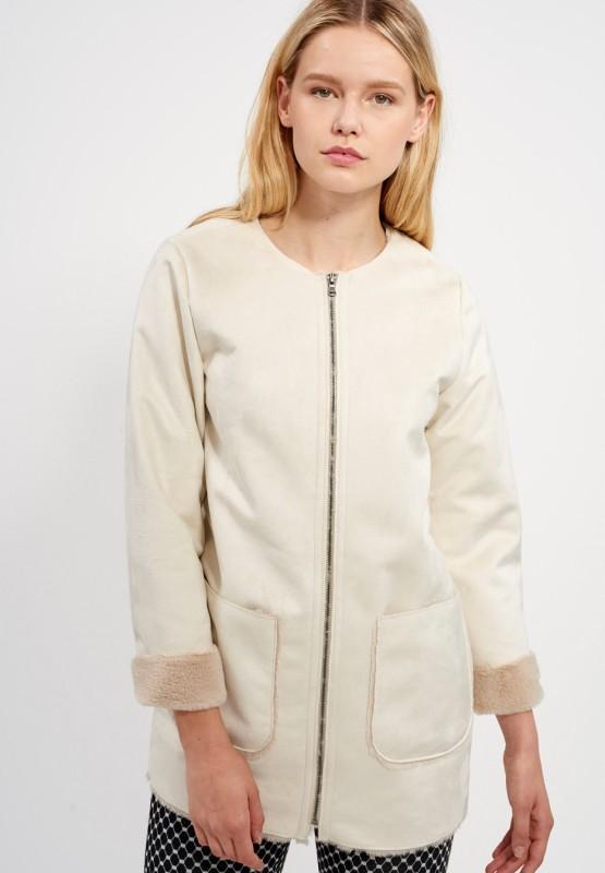 MEXX Plüsch-Mantel ohne Kragen mit Zip