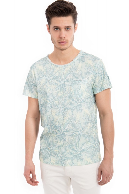 WAY OF GLORY Basic T-Shirt Tropical Print& Tasche - gruen (grün)
