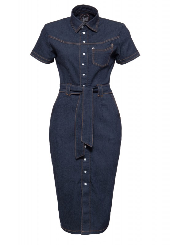 Denim Bleistiftkleid in Vintage-Optik