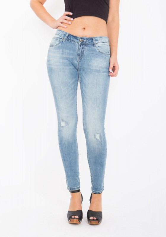 BLUE MONKEY Röhrenjeans in Used Waschung Layla 3741