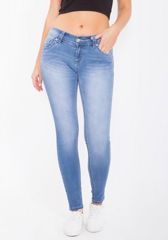 BLUE MONKEY Skinny Jeans mit Lederapplikationen Olivia 3788