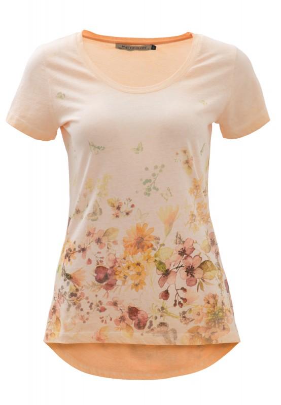 Way of Glory Shirt mit Flower- Butterfly Print - apricot