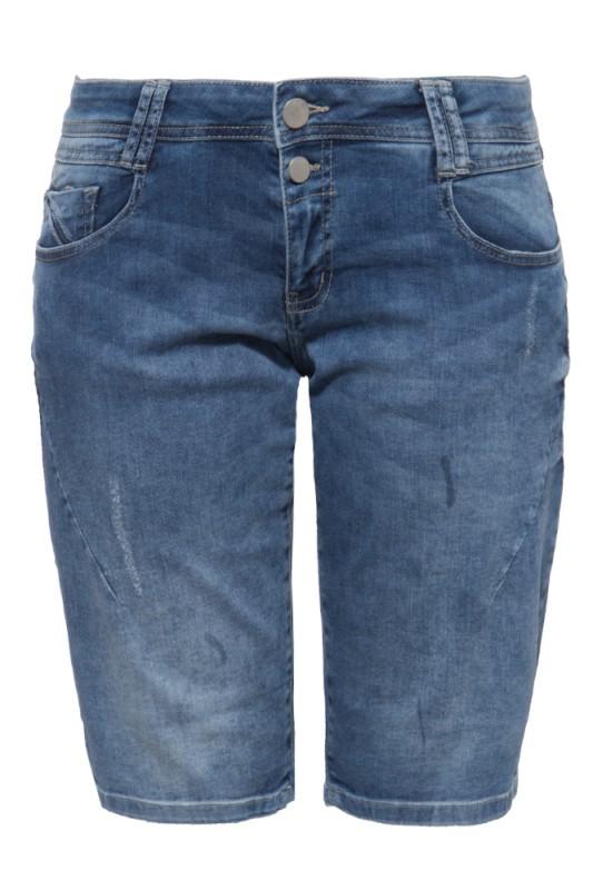 5-Pocket Jeansshorts mit Waschungen und Strass-Detail