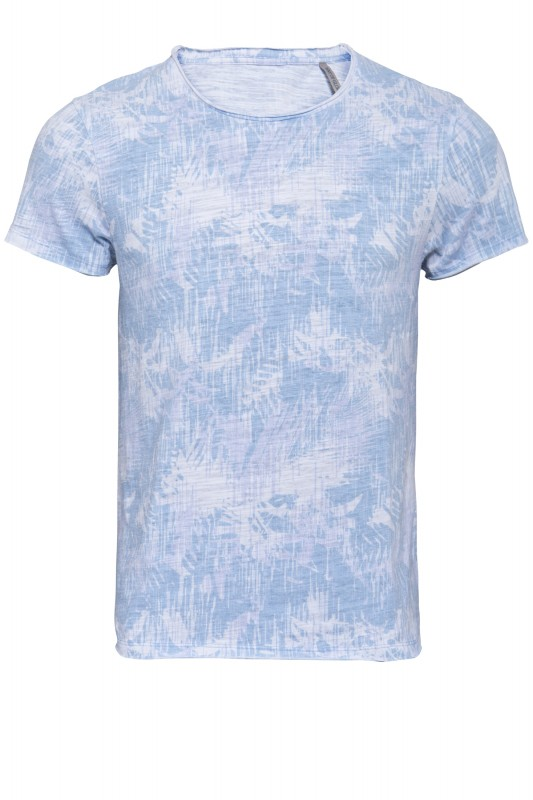 Basic T-Shirt striped Tropical Print - blau