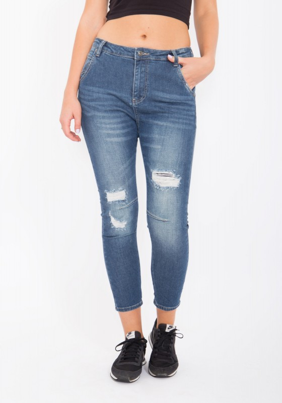 BLUE MONKEY Boyfriend Jeans im Destroyed Look, cropped Celine 1088