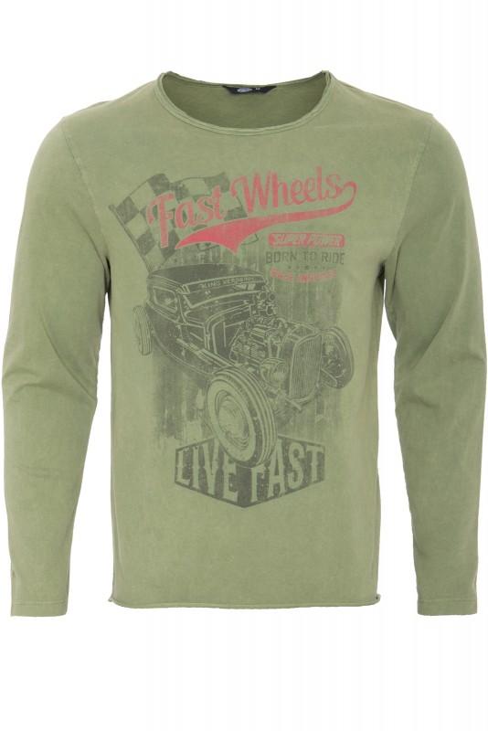 Langarmshirt im Used-Look mit Print fast wheels - gruen (grün) - Regular Fit