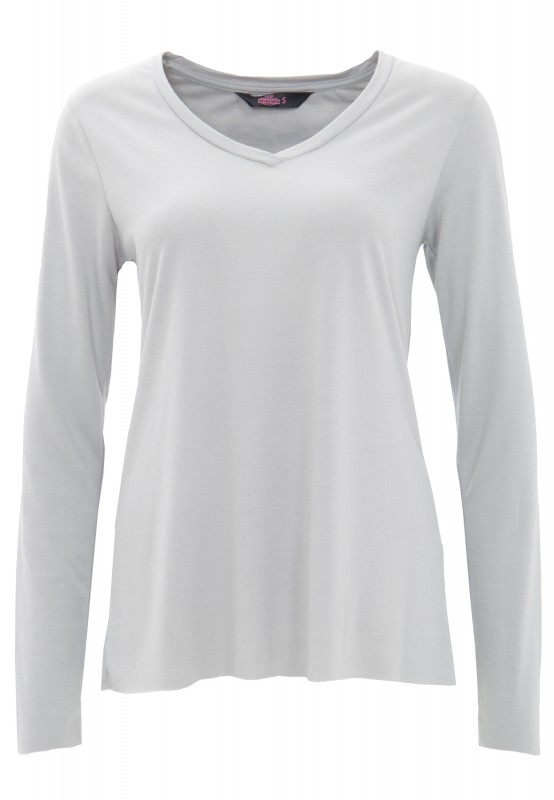 QUEEN KEROSIN Basic Longsleeve aus Viskose-Mix - grau