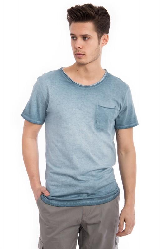 Basic T-Shirt Round neck im used Look - blau