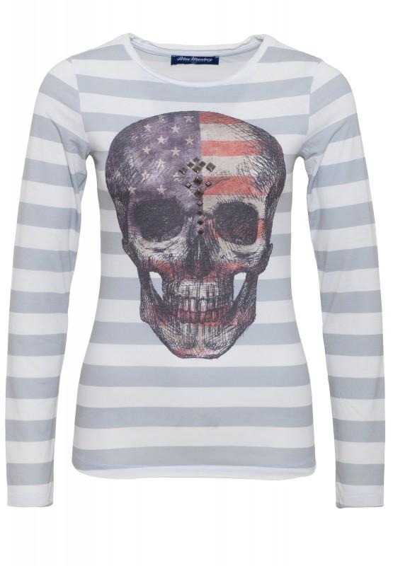 Longshirt mit Fotodruck Skull Style 5 18-3518 - grau (light grey)