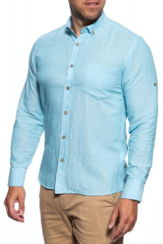 DUST Sommerliches Leinenhemd mit Brusttaschen und Button-Down-Kragen