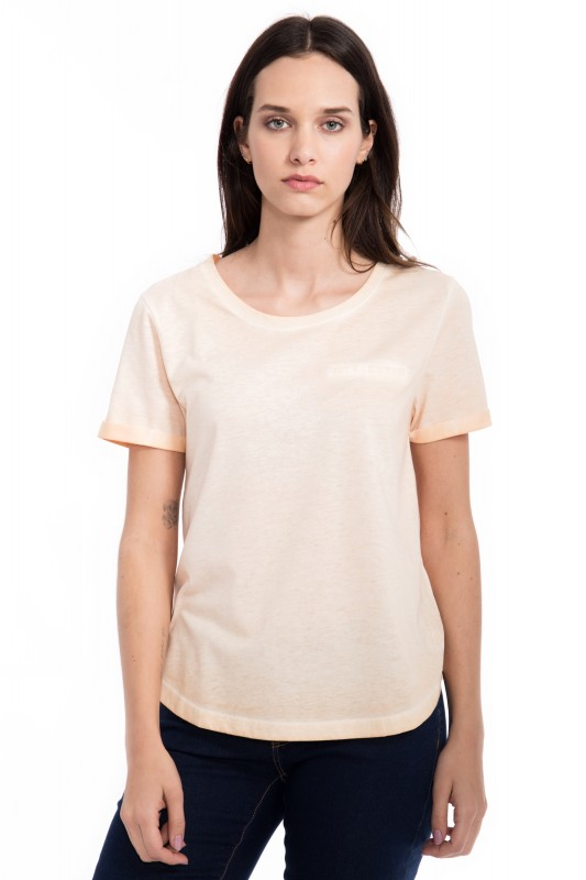 Basic T-Shirt Round neck im used Look - apricot
