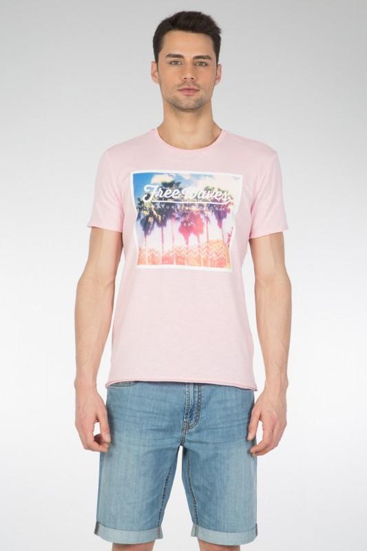 COLINS T-Shirt mit Fotodruck und geschnittenen Kanten