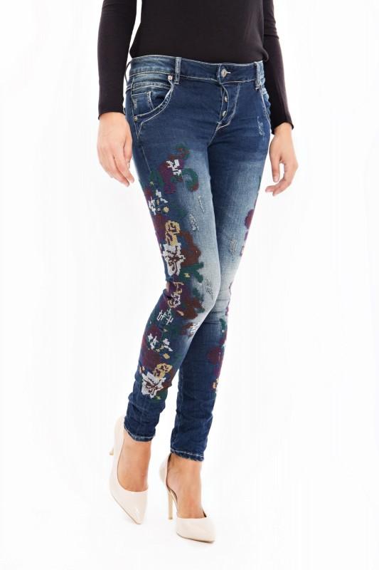 BLUE MONKEY Skinny Jeans mit bunter Kreuzstickerei Manie 1612