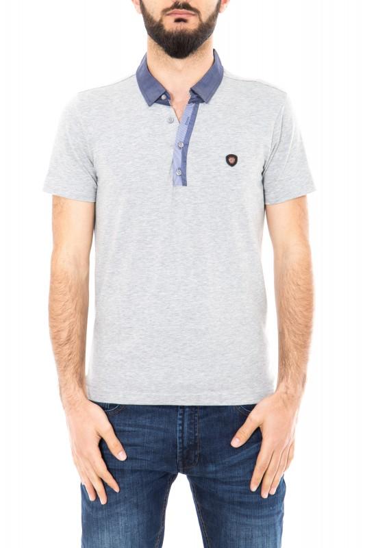 Poloshirt mit kontrastfarbener Knopfleiste - grau (grey)