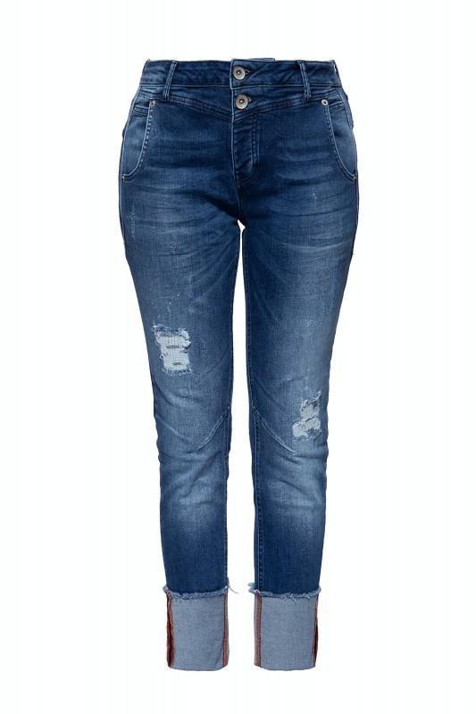 ATT JEANS Damen Boy Fit Jeans im Used Look mit Beinaufschlag Kira