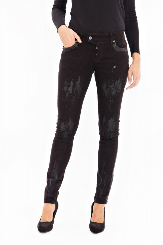 BLUE MONKEY Skinny Jeans mit partiellem Folien Druck Maine 1288