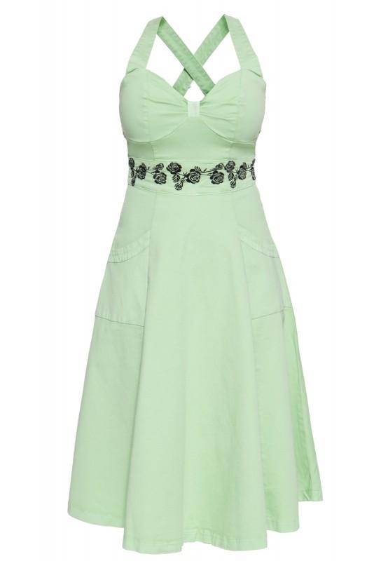 Vintage Swing-Kleid mit floraler Stickerei