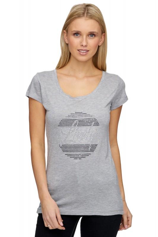 Decay Basic T-Shirt mit Pailettenapplikation - grau meliert