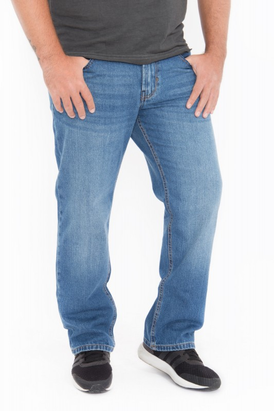 WAY OF GLORY Herren Relax-fit-Jeans in cleaner Waschung Tom