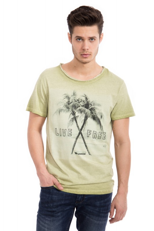 WAY OF GLORY Oil-Washed T-Shirt mit Print