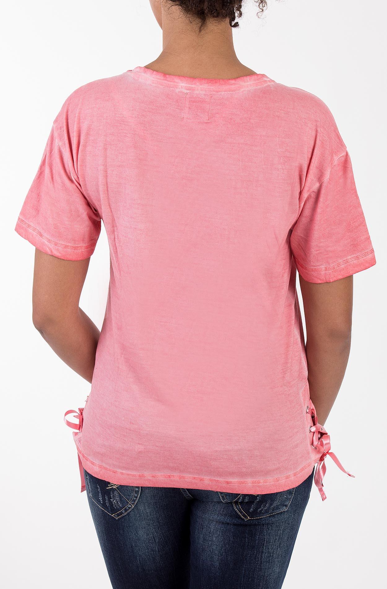 BLUE MONKEY T Shirt mit Pailletten und Schnürung