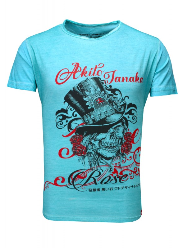 AKITO TANAKA T-Shirt mit Front Druck in cooler Oil Waschung Skull Deluxe