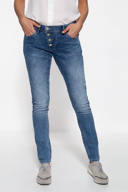 WAY OF GLORY Damen 5-Pocket Jeans mit asymmetischer Knopfleiste