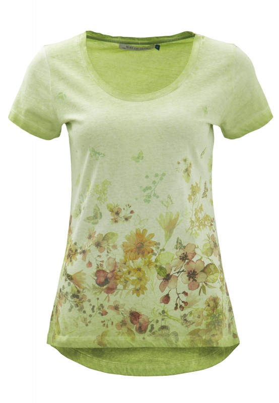 Way of Glory Shirt mit Flower- Butterfly Print - apfelgrün