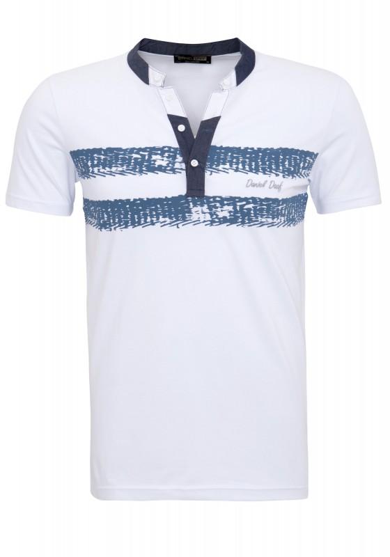 DANIEL DAAF T-Shirt mit Jeanskragen und Druck