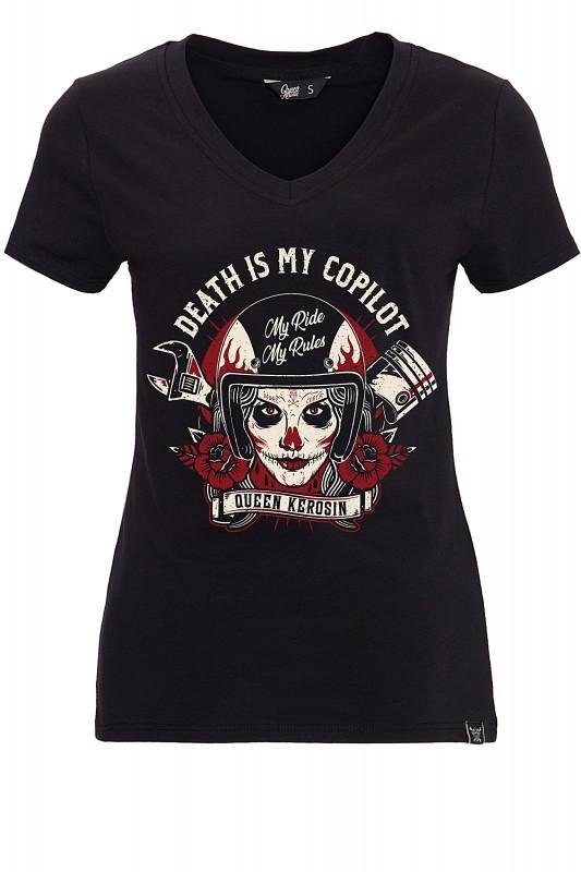 QUEEN KEROSIN T-Shirt mit V-Ausschnitt und Frontprint Death is my Co-Pilot