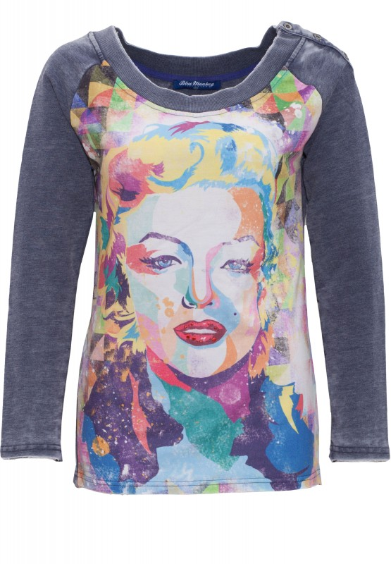 Sweatshirt mit Frontprint Marilyn Style 7 17-4919 - blau (Dark Navy)