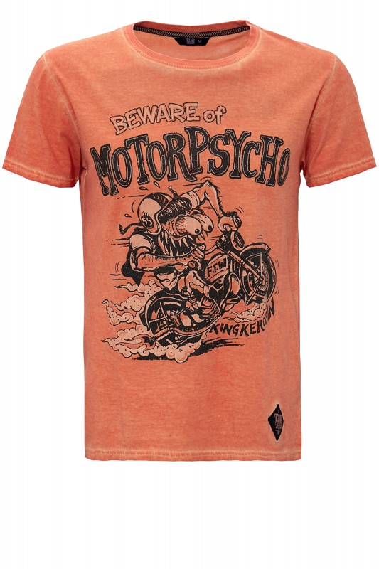 KING KEROSIN Oil Washed Print T-Shirt im Used Look Motorpsycho