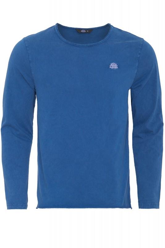 Basic Langarmshirt im Used-Look - blau - Regular Fit